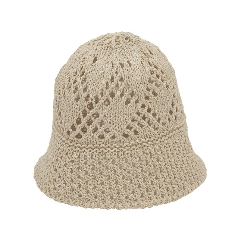 春夏鏤空純色漁夫帽