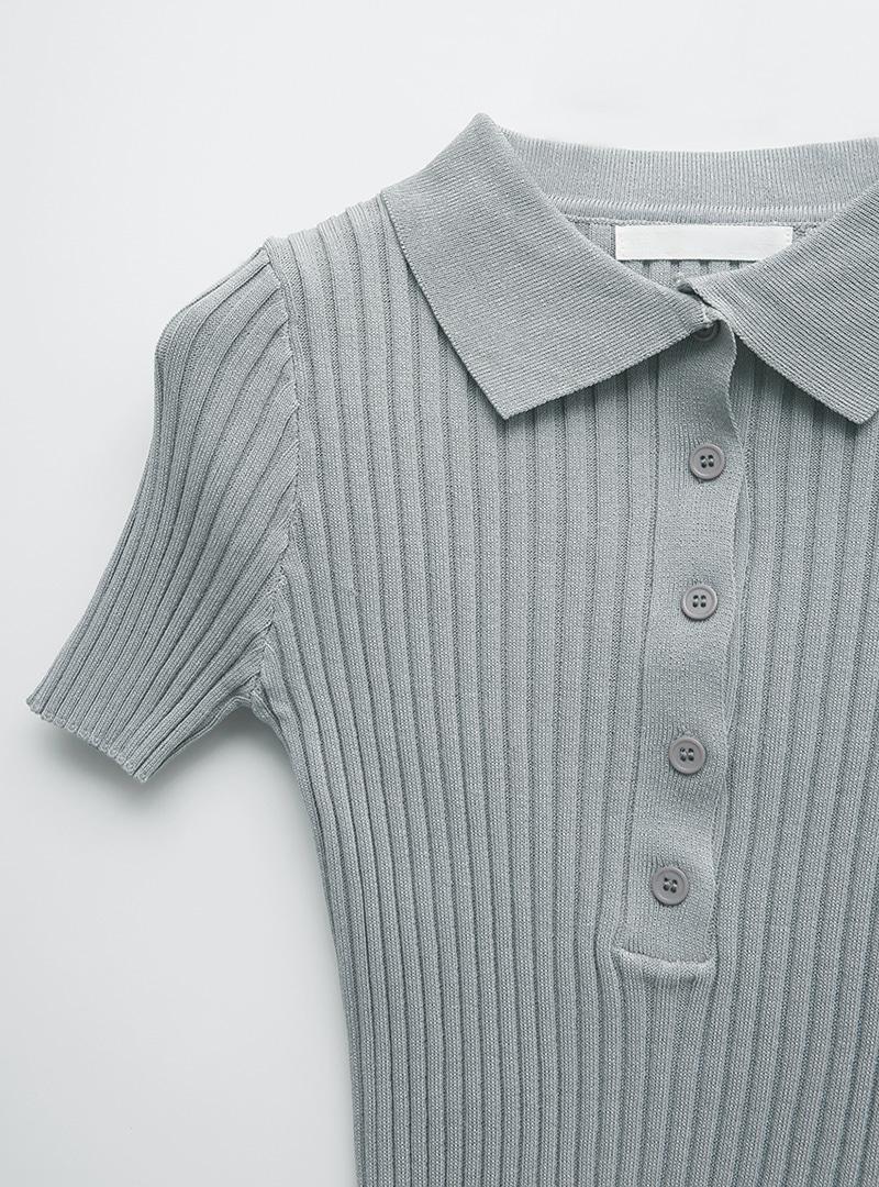 Polo Collar Ribbed T-Shirt