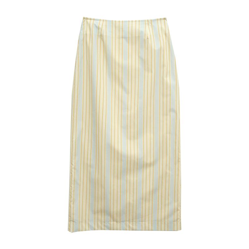 文青風條紋開衩襬長裙