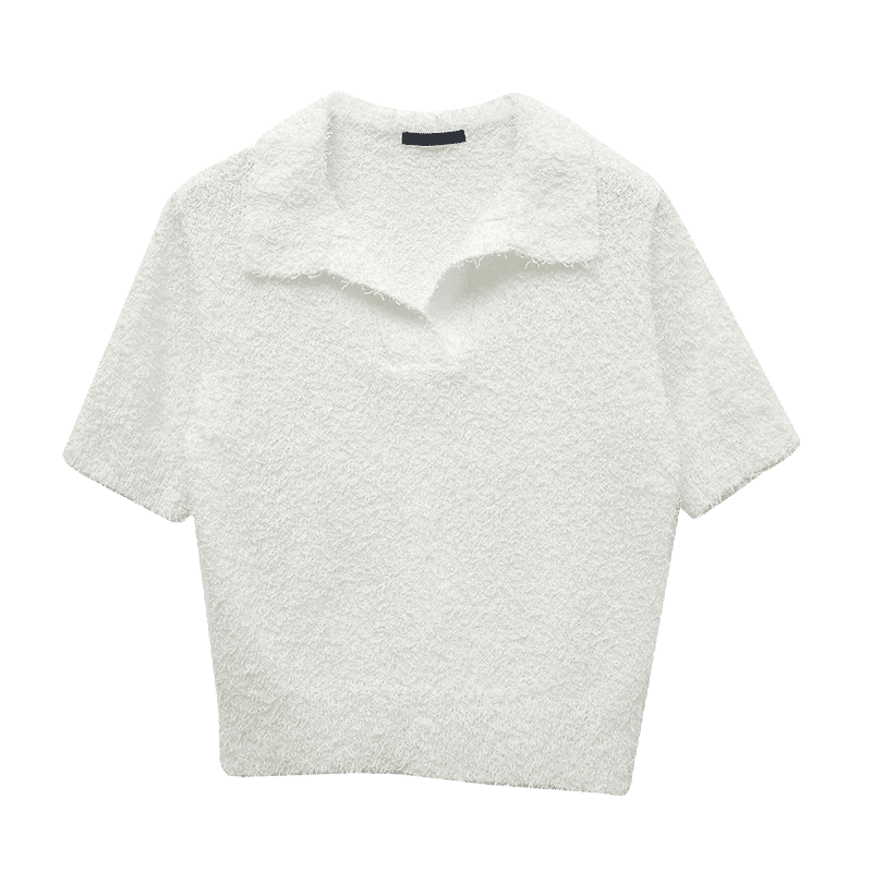 Collared Boucle Knit Top