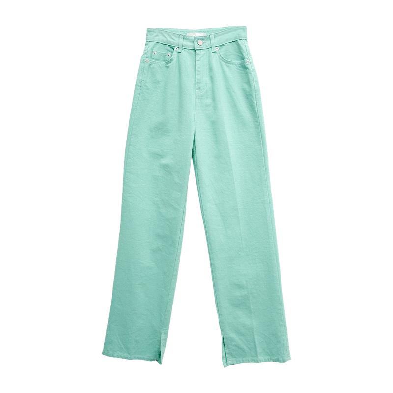 Slit Hem Straight-Cut Long Pants