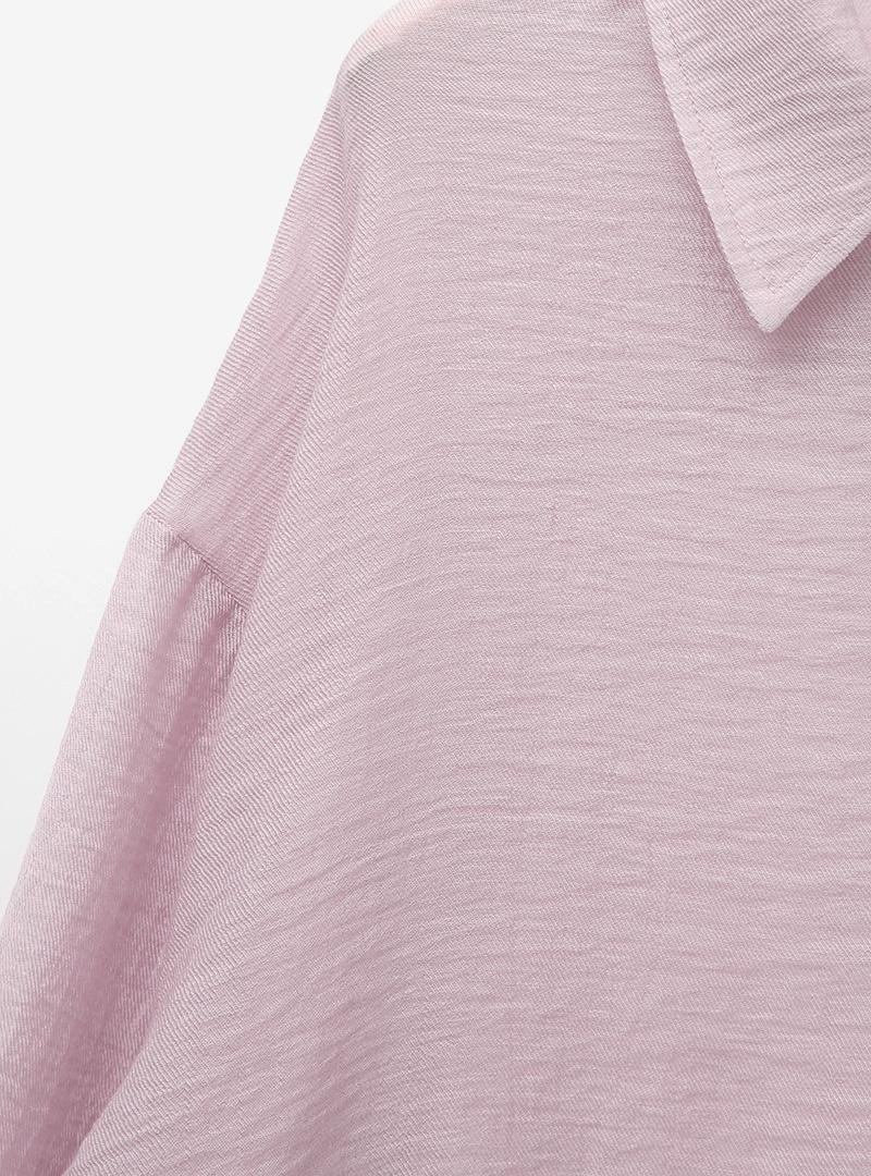 自然風寬鬆落肩純色襯衫