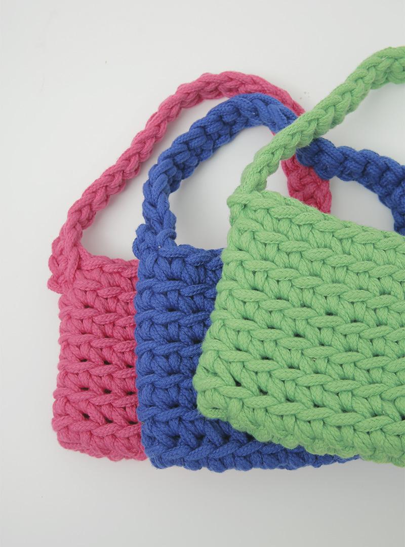 寬版編織針織手提包