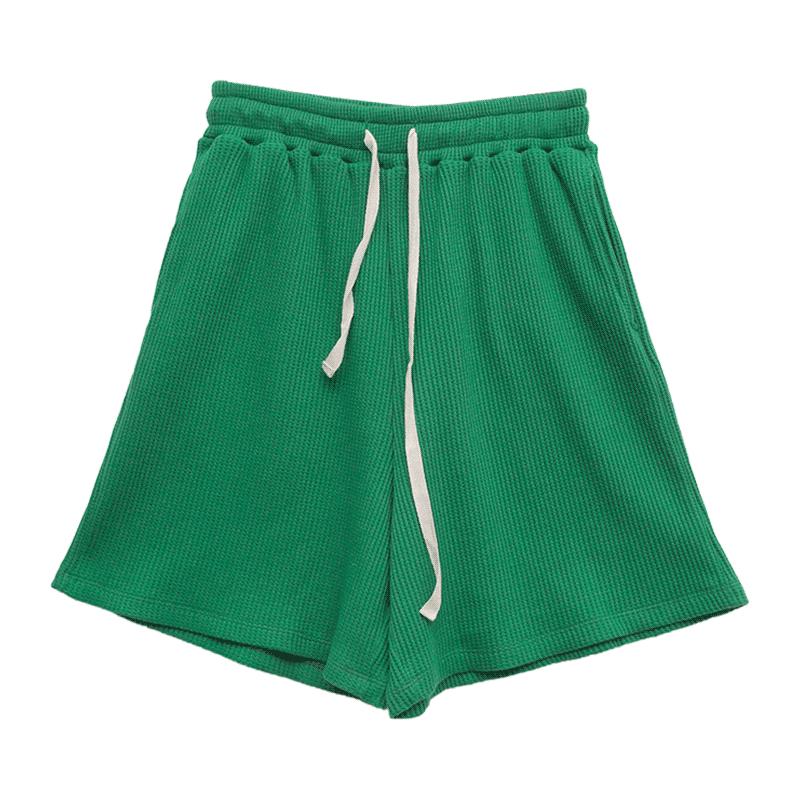 Waffle Texture Tie-Waist Shorts