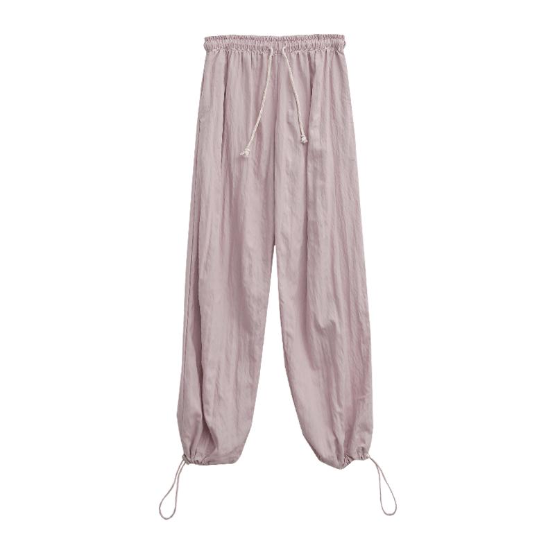 粉彩色抽繩褲腳長褲