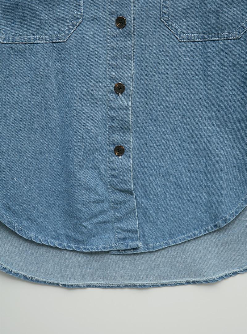 Curved Hem Denim Button-Up Shirt