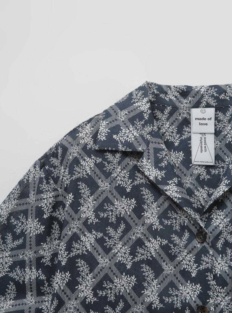 샤이격자리프 하프셔츠