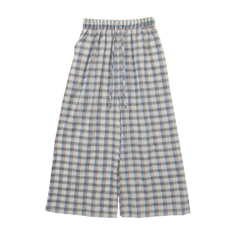 Tie-Waist Check Palazzo Pants