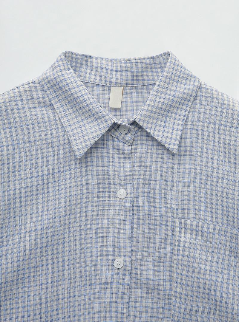 여유잔체크 포켓박시셔츠
