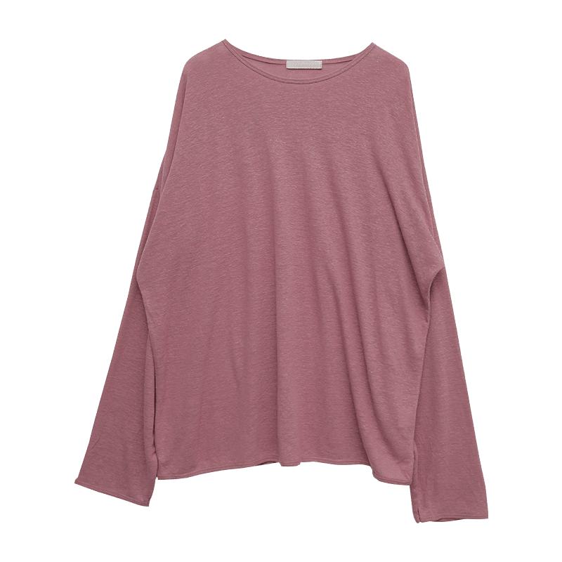 Basic Loose Fit Linen Blend T-Shirt
