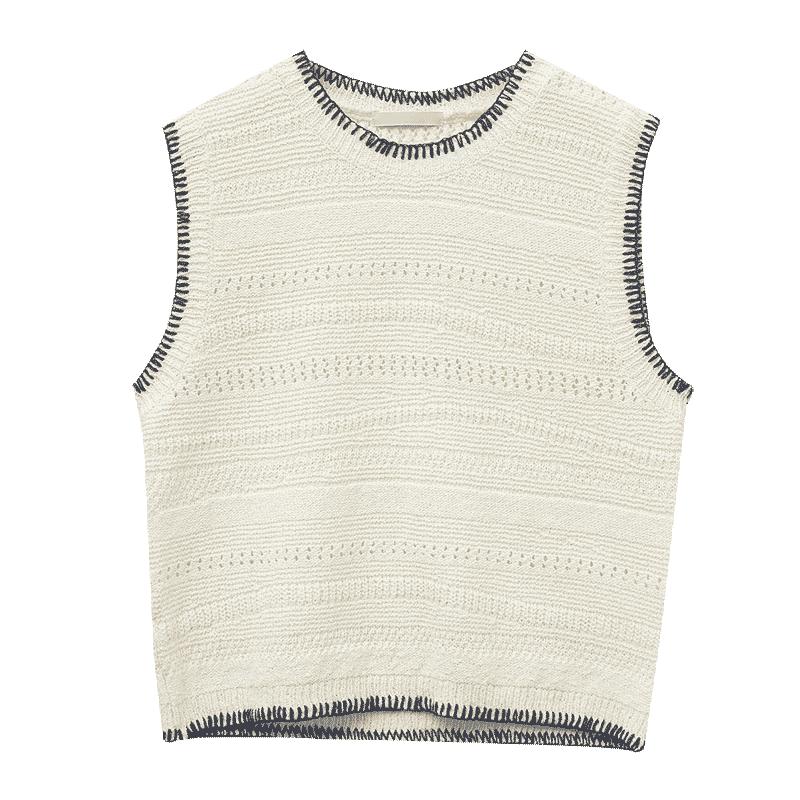 Contrast Stitch Sleeveless Knit Vest