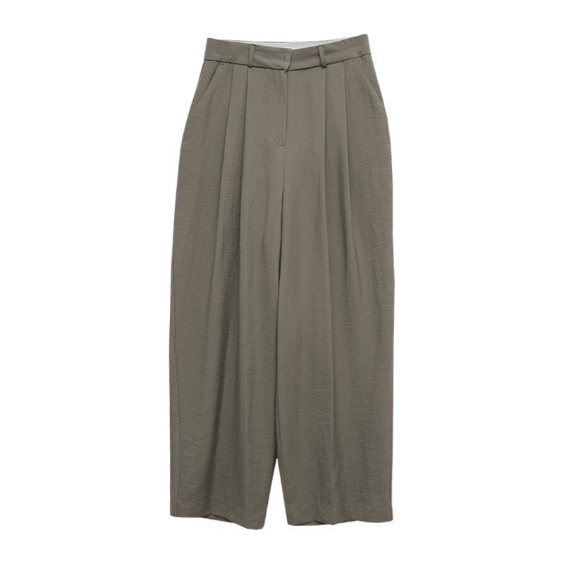 輕盈質感壓褶純色西裝寬褲