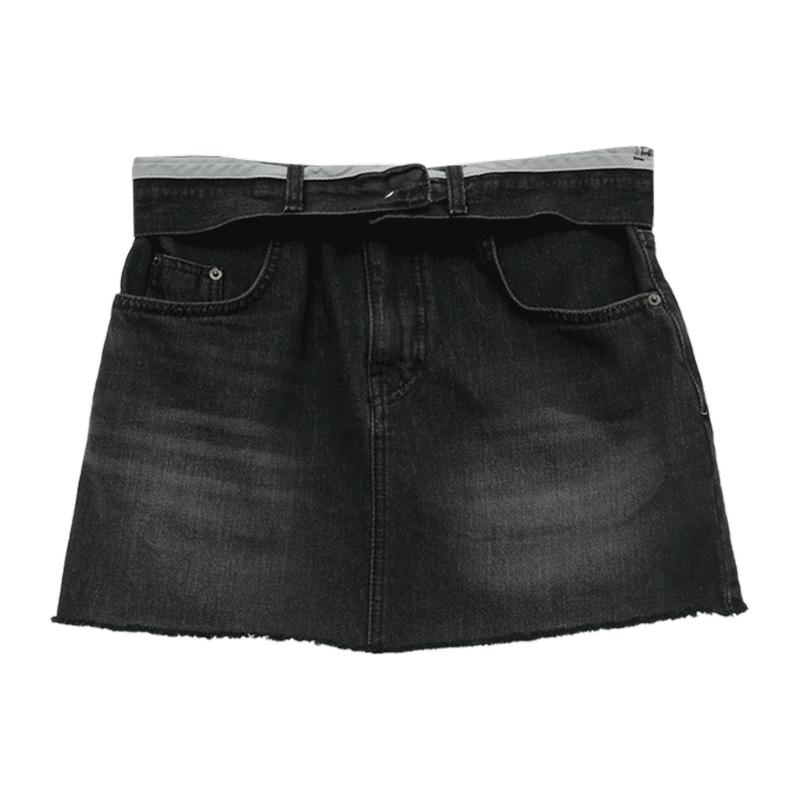 Foldover Waistband Denim Mini Skirt