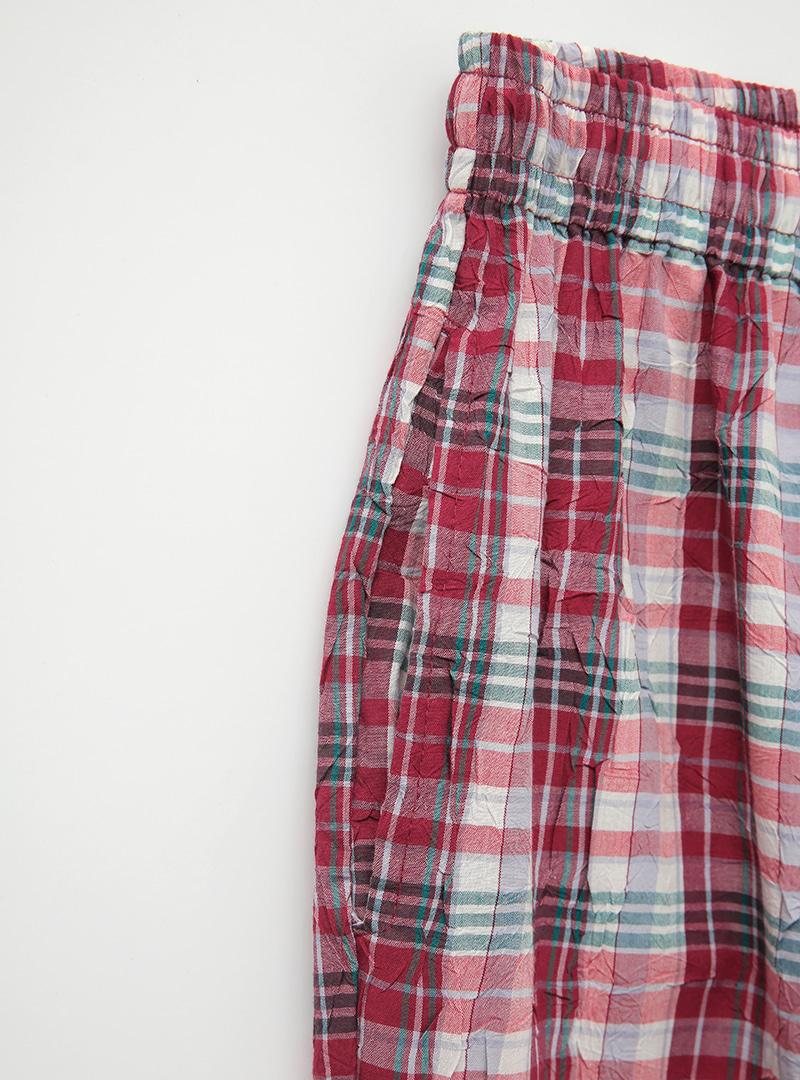 Tie-Waist Check Wide-Leg Pants