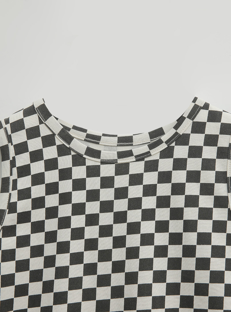 Checkered Crop Sleeveless Top