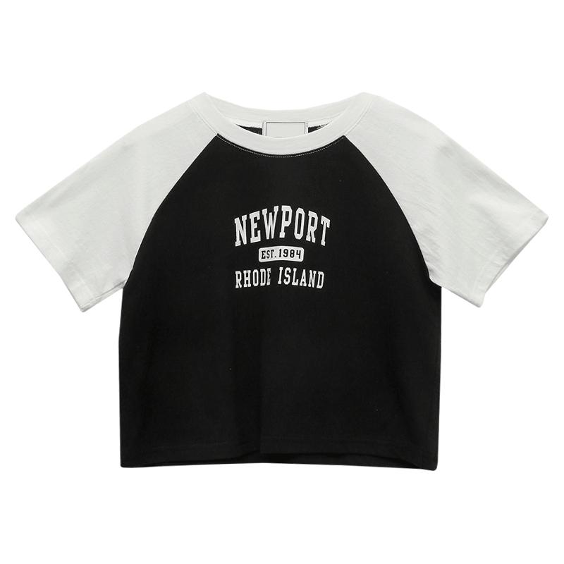 NEWPORT Print Raglan Crop T-Shirt