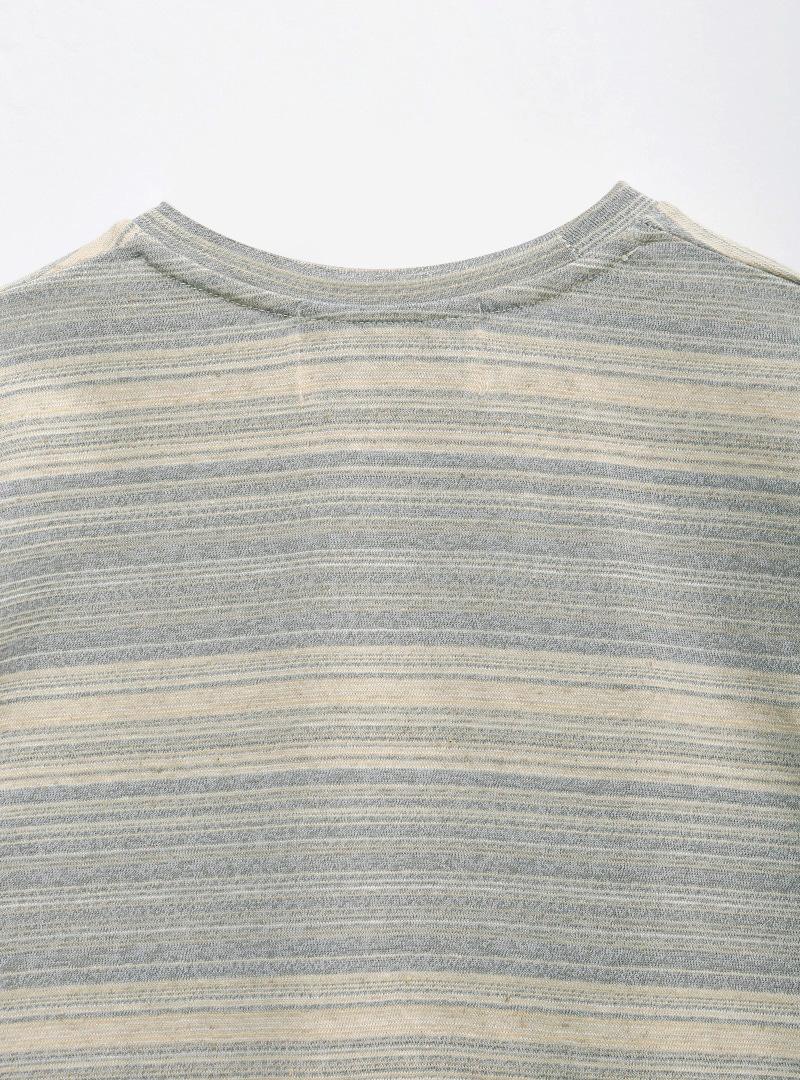 Side Slit Striped Short Sleeve T-Shirt