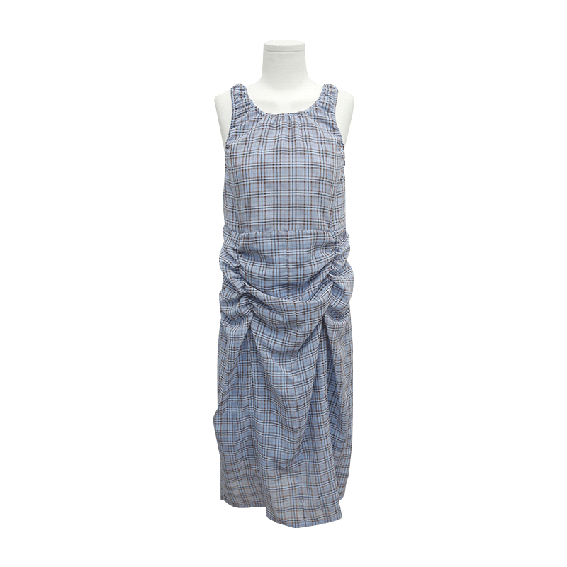 Ruched Sleeveless Check Dress