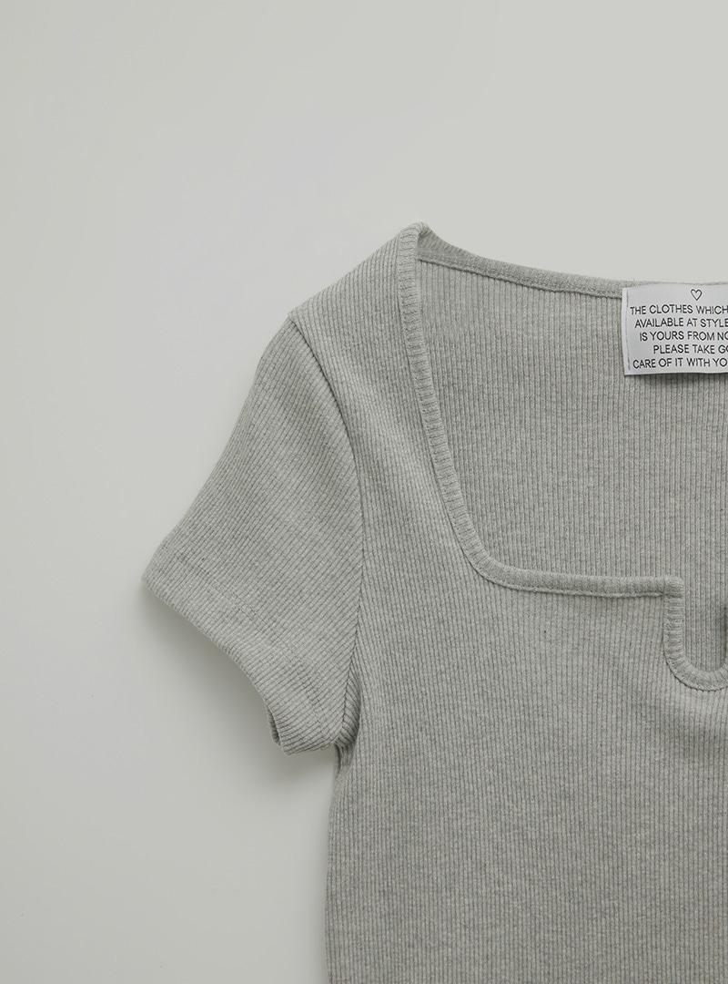 獨特方領羅紋短版T恤