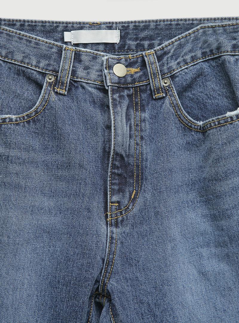 Buttoned Slit Slim-Straight Jeans