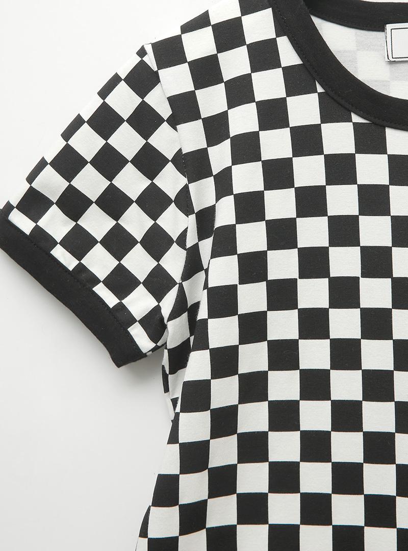 Checkered Short Sleeve Mini Dress