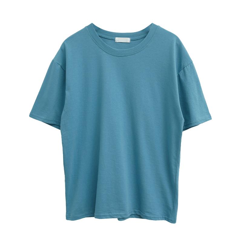 多色圓領落肩短袖T恤