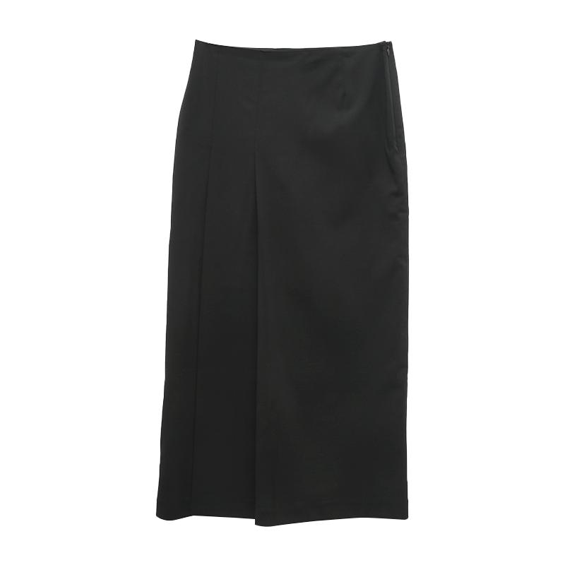 Knife Pleat Straight Long Skirt