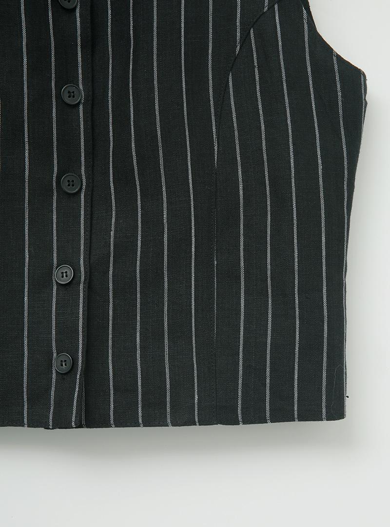 Button-Up Striped Short Vest
