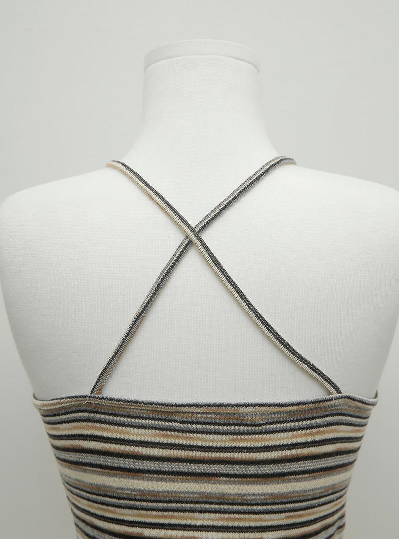 Striped Halterneck Crop Top