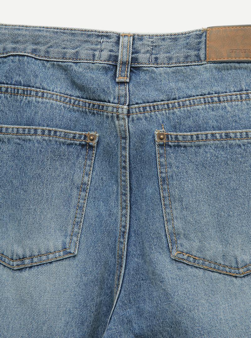 抽鬚破口刷色牛仔寬褲