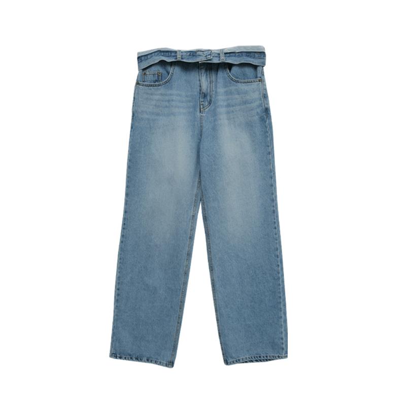 Foldover Waistband Wide Leg Jeans