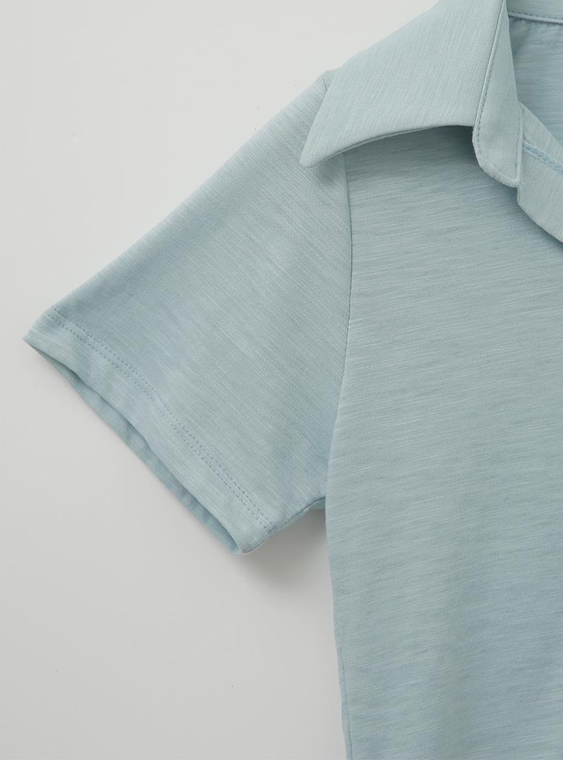 翻領短袖排釦純色T恤