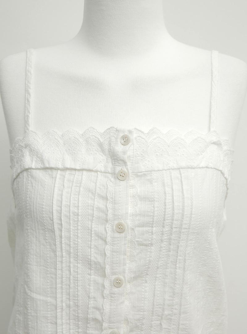 蕾絲刺繡排釦細肩帶上衣