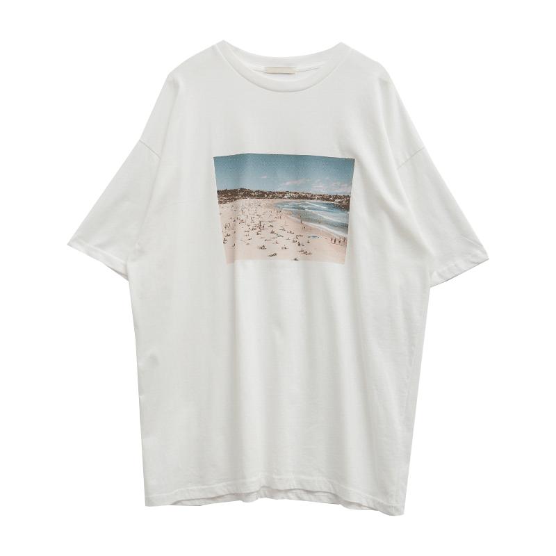 度假海灘印花寬鬆T恤