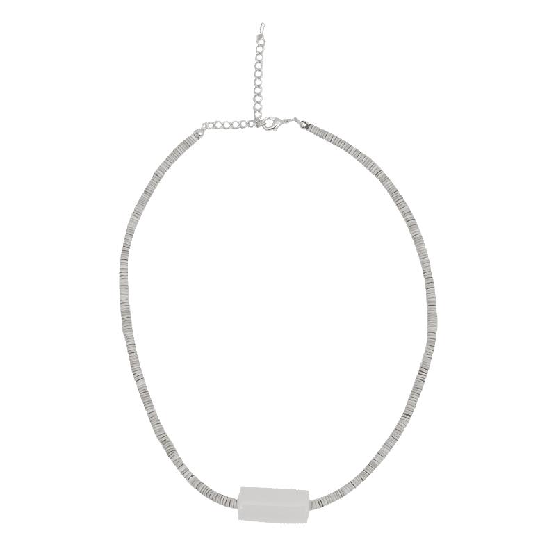 圓筒綴飾混色串珠項鍊