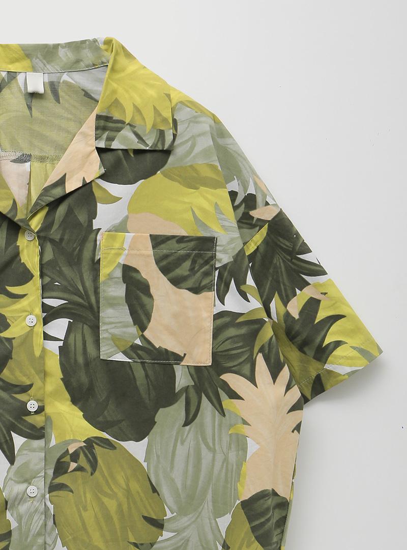 Tropical Print Loose Fit Shirt