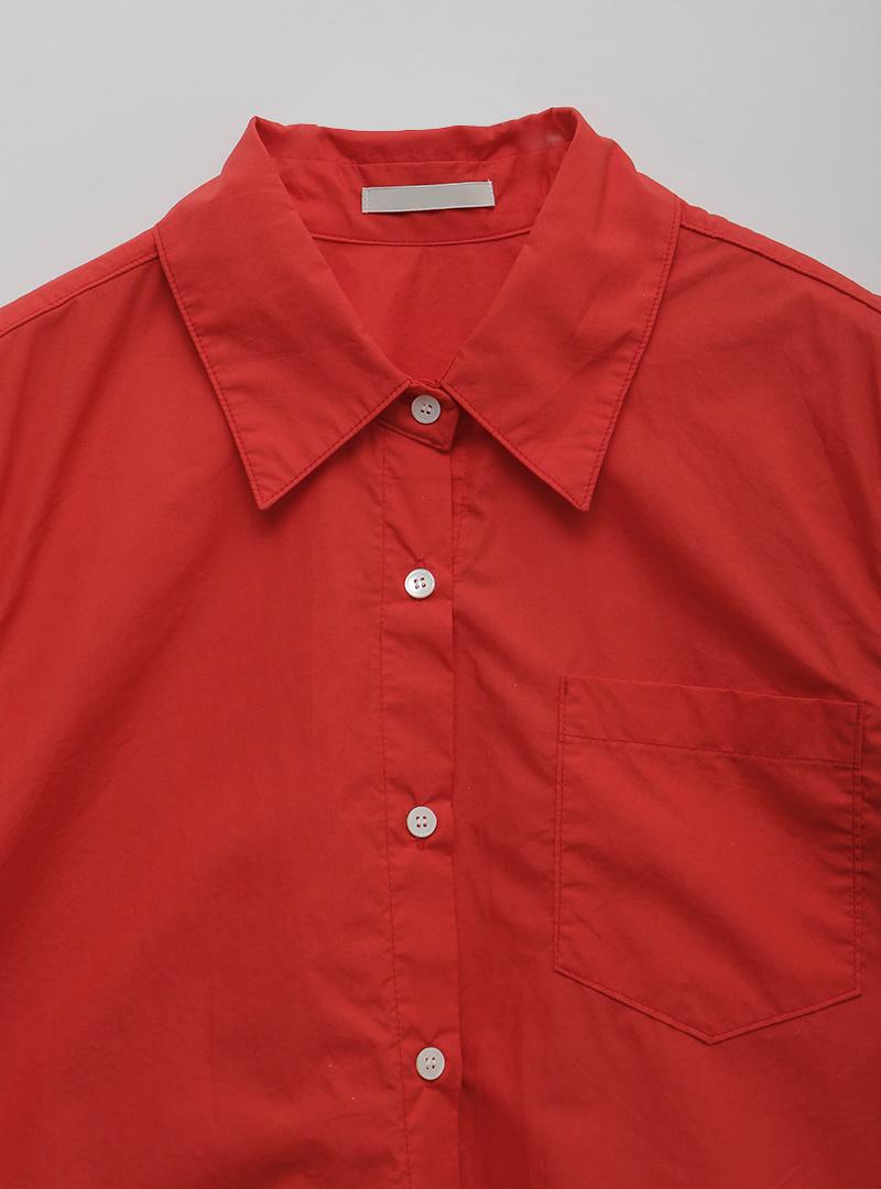 反摺短袖口袋純色襯衫