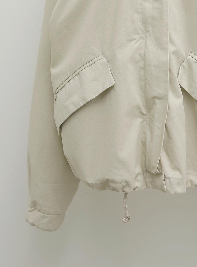 抽繩襬拉鍊寬鬆軍裝外套