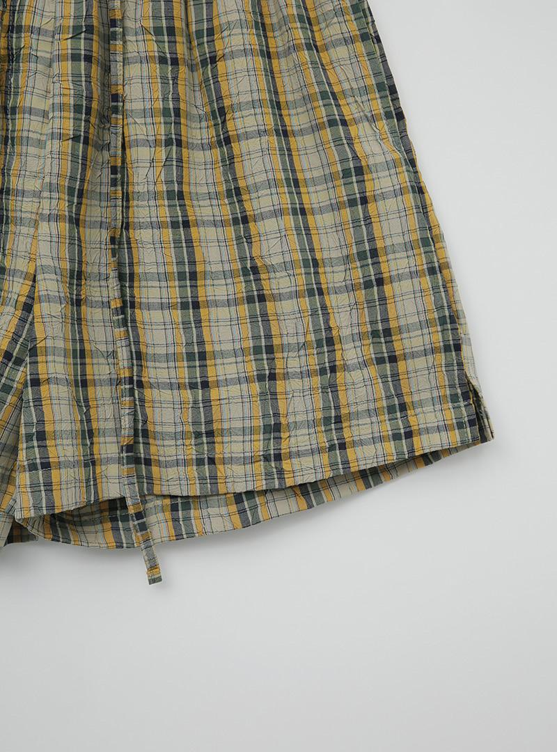 Check Pattern Tie-Waist Shorts