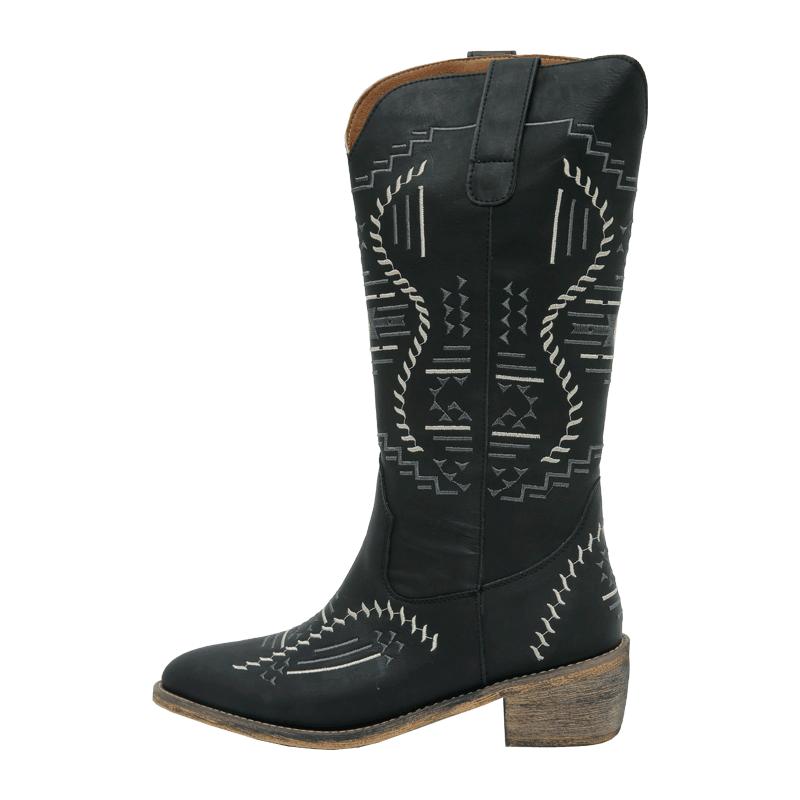 獨特混色刺繡西部牛仔靴