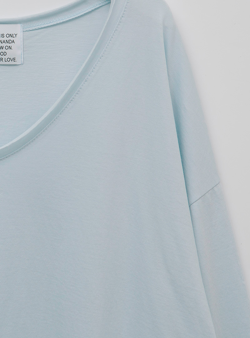 舒適棉質V領寬鬆長袖T恤