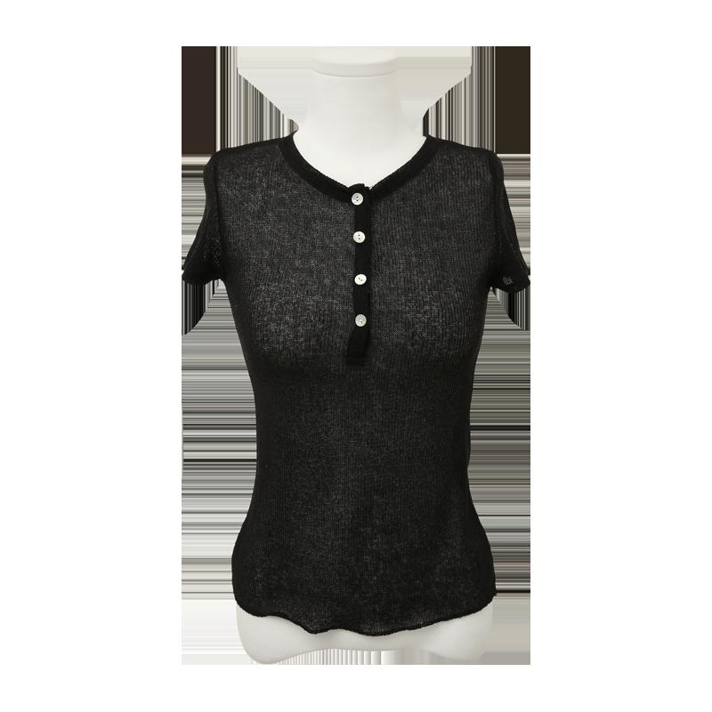 半排釦透膚短袖T恤
