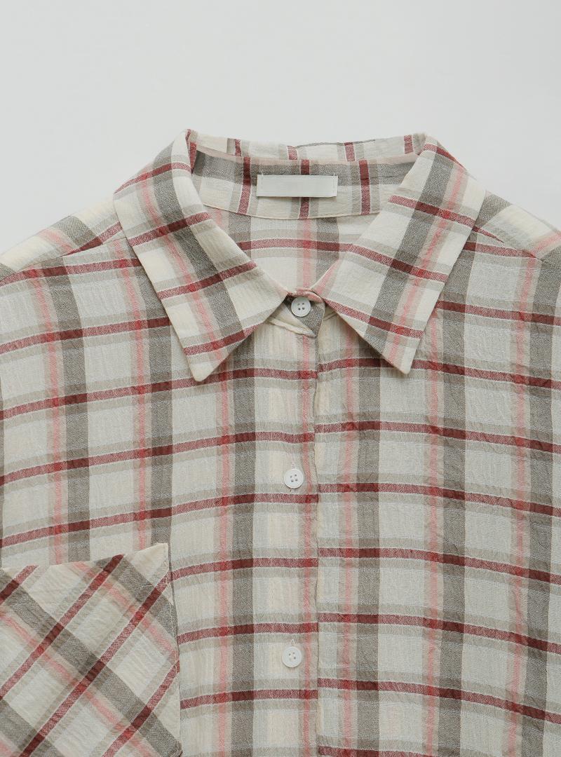 開衩圓弧襬單口袋格紋襯衫