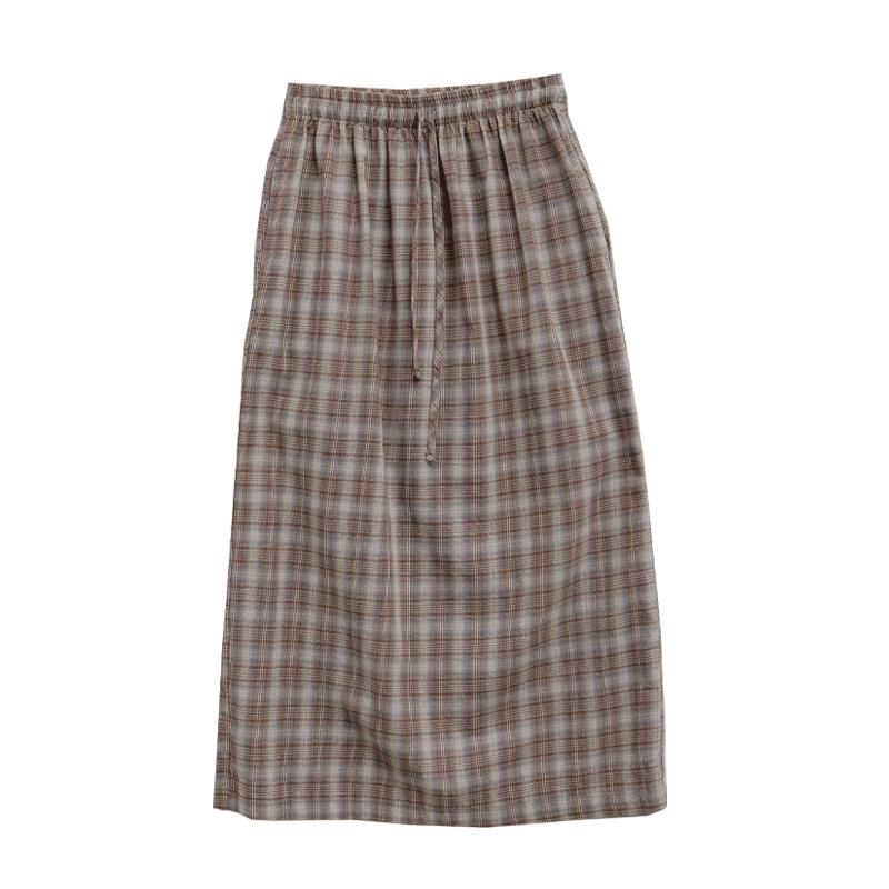 Tie-Waist Long Check Skirt