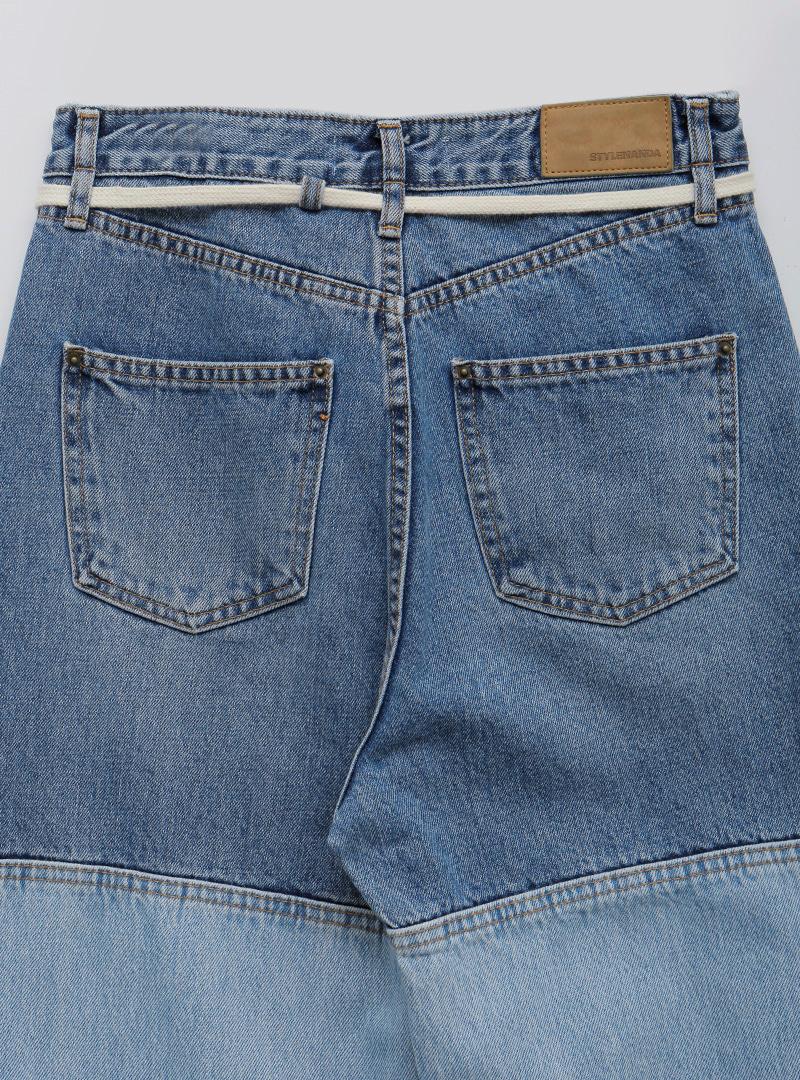 Tie-Waist Paneled Jeans
