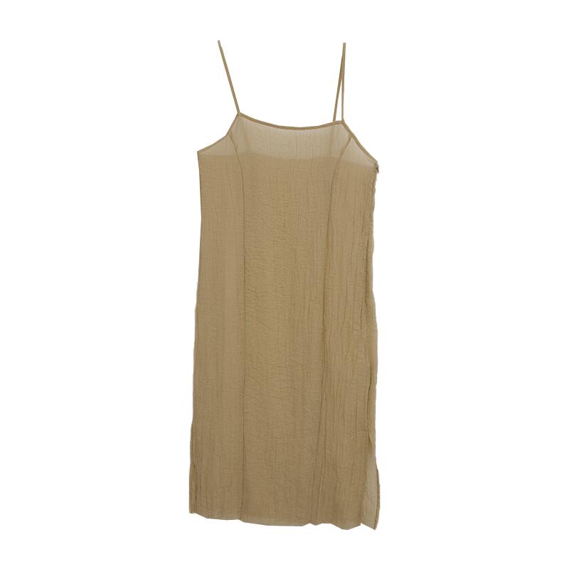 Crinkled Slim Strap Sleeveless Dress
