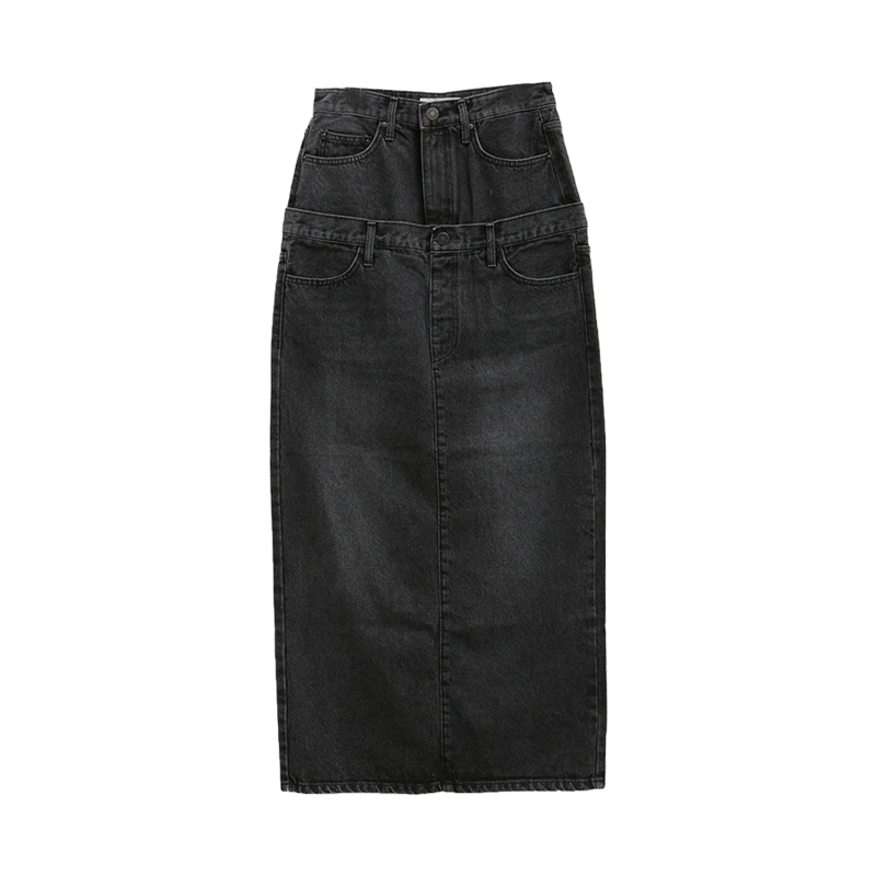 Layered Long Denim Skirt