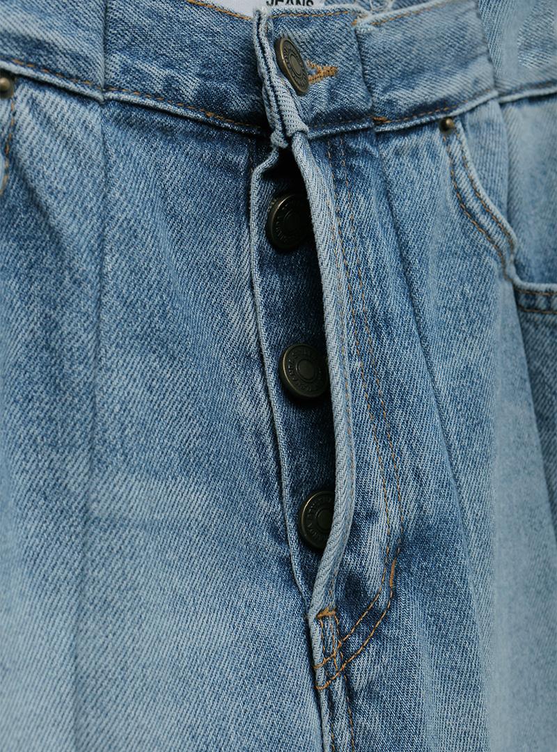 Line Detail Raw Hem Straight Jeans