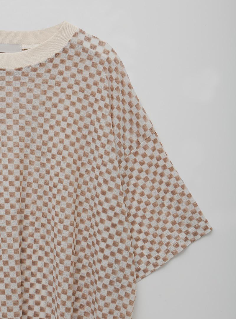配色格紋寬鬆五分袖T恤