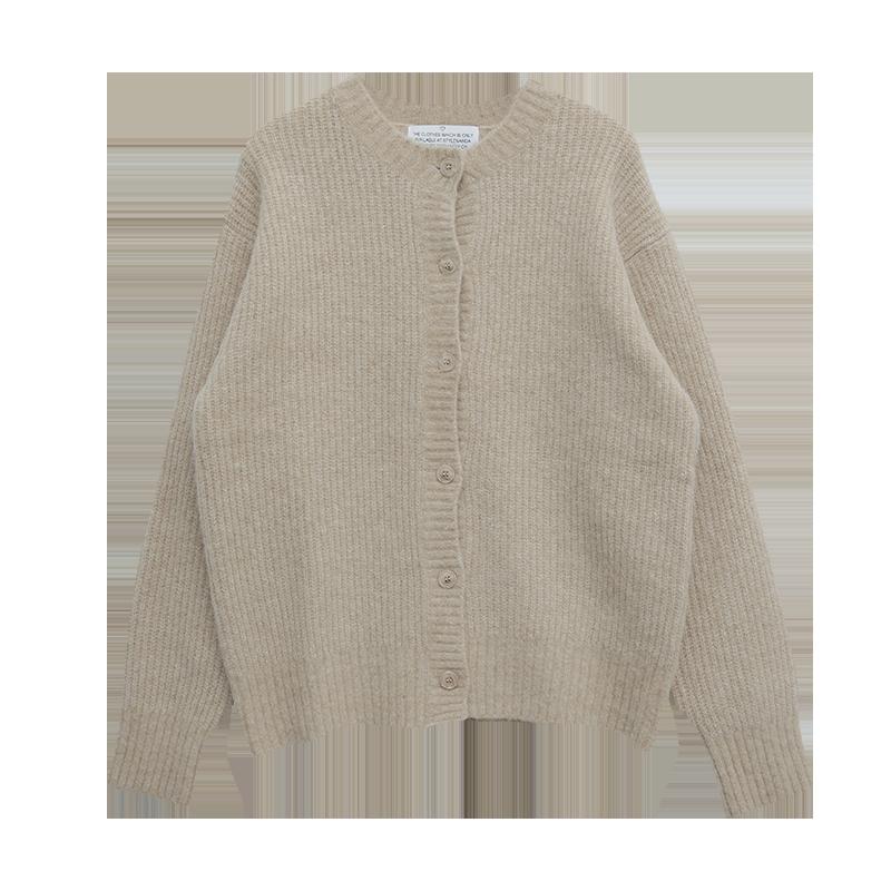 混羊駝毛圓領排釦針織外套